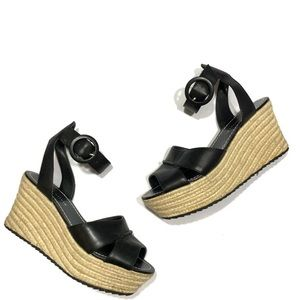 Alice + Olivia Black Leather Espadrille Wedges